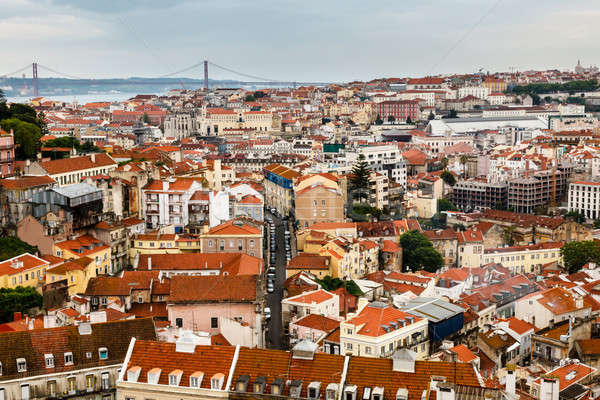 Aerial View on Lisbon and 25 Abril Bridge, Portugal Stock photo © anshar