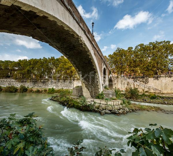 Panorama of Tiber Island and Fabricio Bridge over Tiber River, R Stock photo © anshar