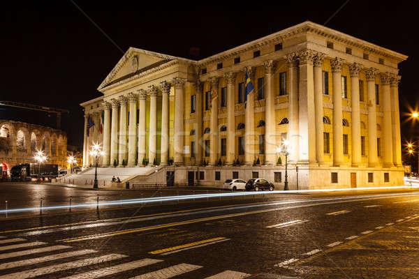 Paleis Romeinse amfitheater beha verona nacht Stockfoto © anshar