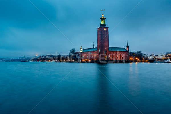 Stockholm ada sabah İsveç su bulutlar Stok fotoğraf © anshar