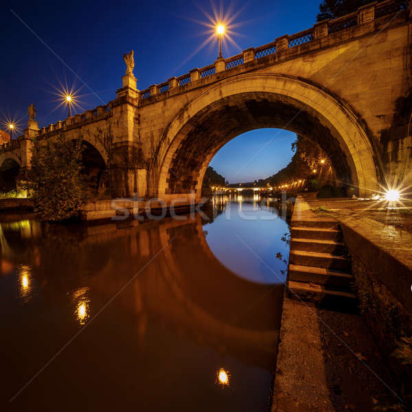 Under the Holy Angel Bridge at Dawn, Rome, Italy Stock photo © anshar