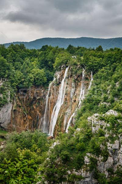 водопада парка Хорватия дерево пейзаж горные Сток-фото © anshar