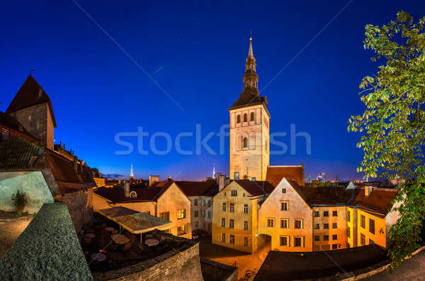Evening View of Old Town and Saint Nicholas (Niguliste) Church i Stock photo © anshar