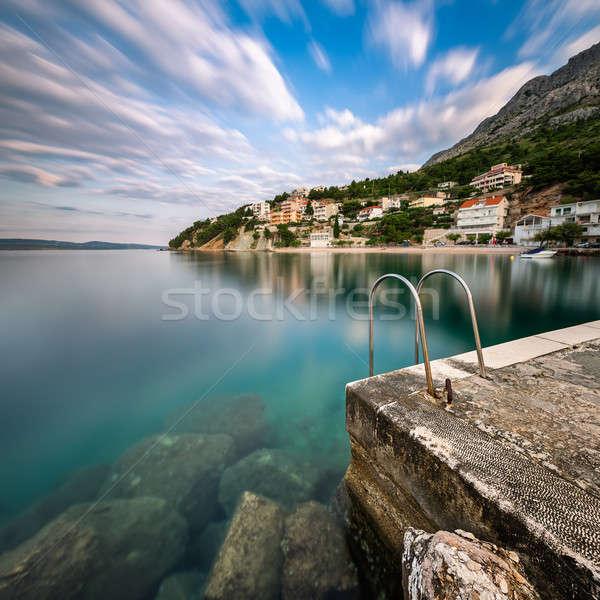 Stone Jetty in Small Village near Omis at Dawn, Dalmatia, Croati Stock photo © anshar