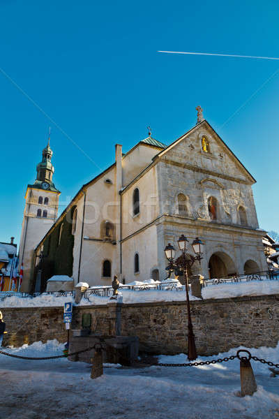 Medieval Church on the Central Square of Megeve, French Alps Stock photo © anshar