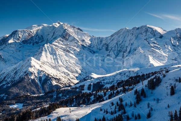 Mountain Peak and Ski Slope near Megeve in French Alps, France Stock photo © anshar