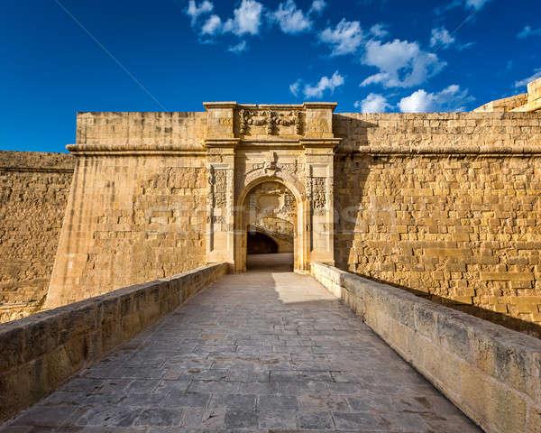 砦 マルタ 市 壁 青 ストックフォト © anshar