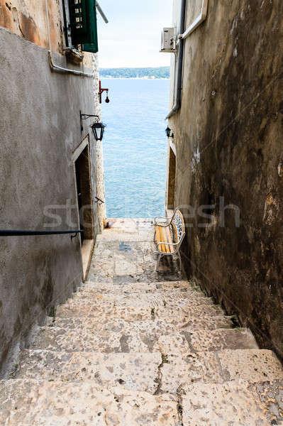 Narrow Stairway to Sea in Rovinj, Croatia Stock photo © anshar