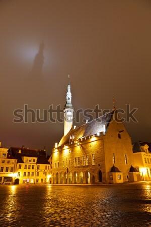 Tallinn városháza árnyék sötét égbolt Észtország Stock fotó © anshar