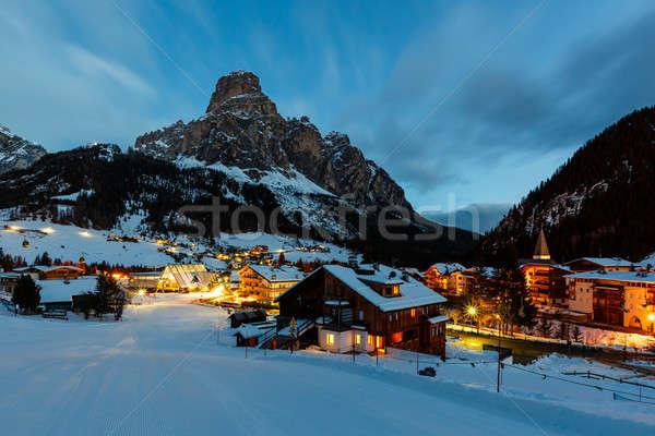 Ski Resort of Corvara at Night, Alta Badia, Dolomites Alps, Ital Stock photo © anshar