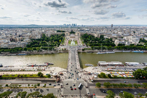 Aerial View on River Seine and Trocadero From the Eiffel Tower,  Stock photo © anshar