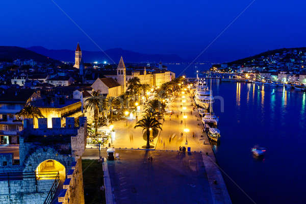 Aerial View on Illuminated Ancient Trogir in the Night, Croatia Stock photo © anshar