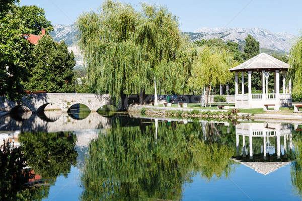 Picturesque Landscape, Stone Bridge, Pavilion, River and Willow, Stock photo © anshar