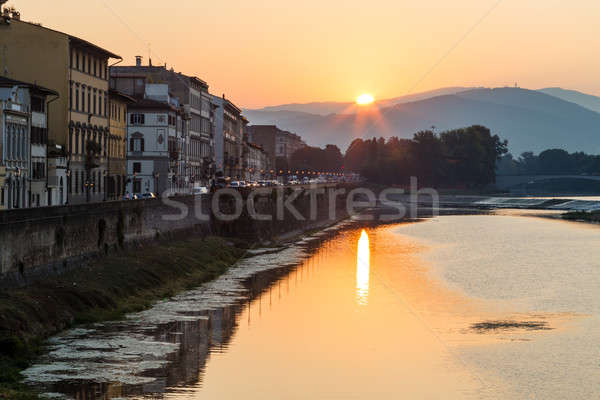 Sunrise at Arno River Embankment in Florence, Tuscany, Italy Stock photo © anshar