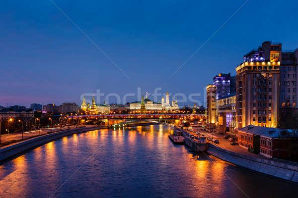 Photo stock: Vue · Moscou · rivière · Kremlin · nuit · Russie
