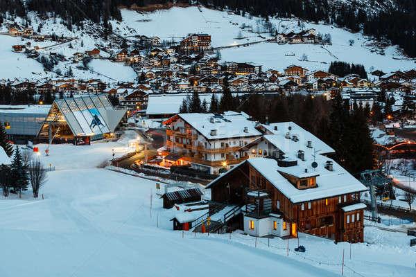 Kayak başvurmak gece alpler İtalya Bina Stok fotoğraf © anshar