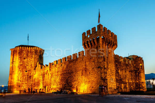 Medieval Castle of Kamerlengo in Trogir Illuminated in the Night Stock photo © anshar
