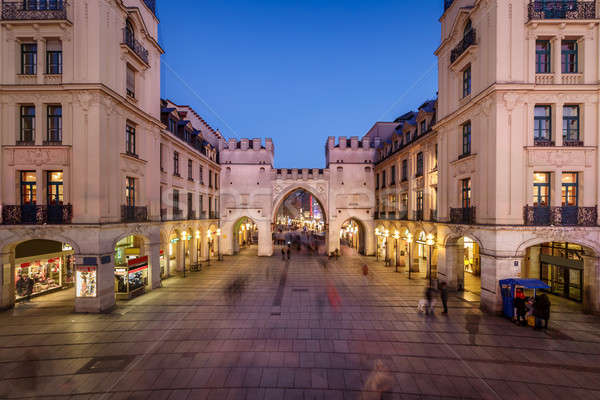 Karlstor Gate and Karlsplatz Square in the Evening, Munich, Germ Stock photo © anshar