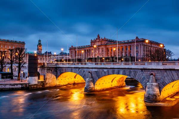 здании моста вечер Стокгольм Швеция небе Сток-фото © anshar