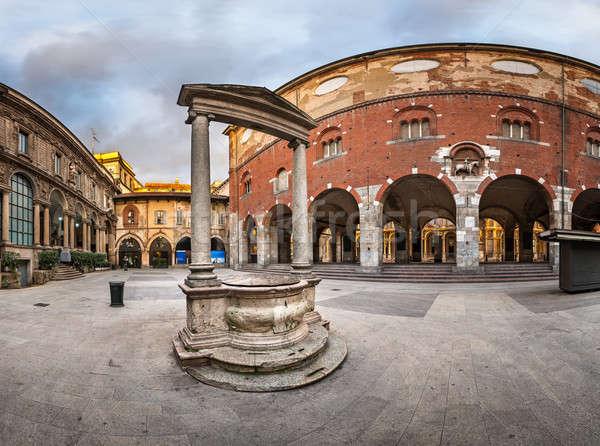 Palazzo della Ragione and Piazza dei Mercanti in the Morning, Mi Stock photo © anshar