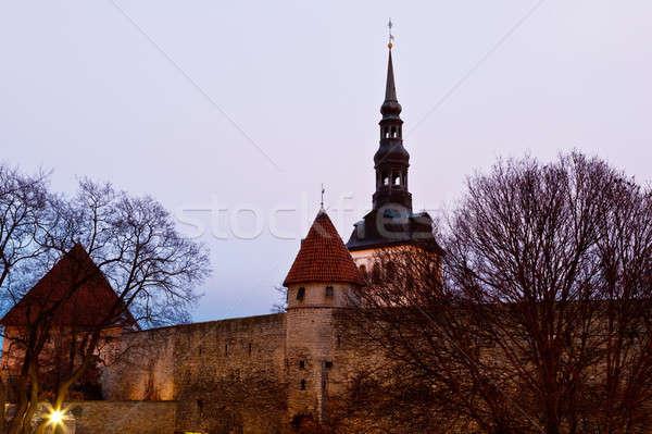 şehir duvarlar towers Tallinn Stok fotoğraf © anshar