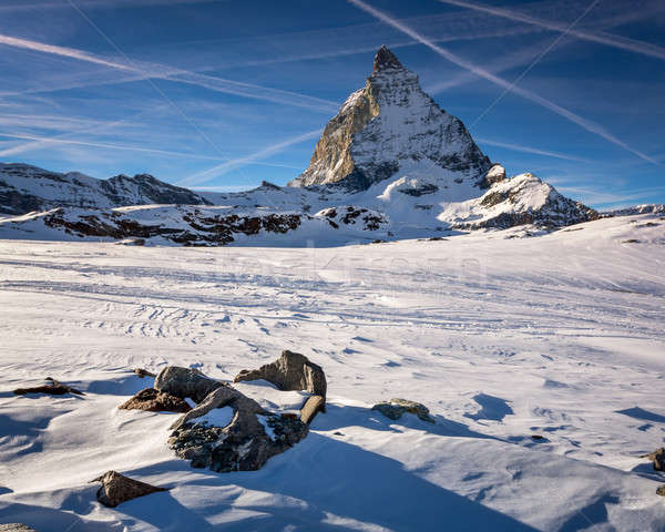 View of Matterhorn on a clear sunny day from the ski slope, Zerm Stock photo © anshar