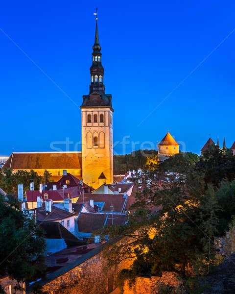 Aziz kilise akşam Tallinn Estonya Stok fotoğraf © anshar