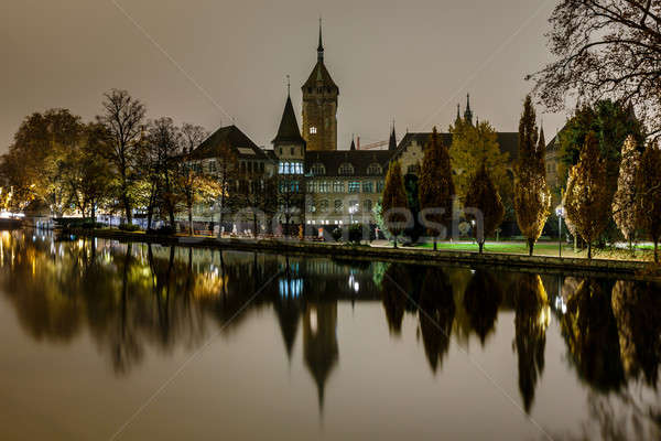 Müze Zürih gece İsviçre su Bina Stok fotoğraf © anshar