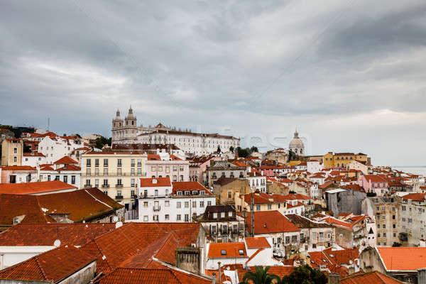 Aerial View on Alfama Quarter of Lisbon, Portugal Stock photo © anshar