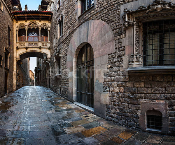 Barri Gothic Quarter and Bridge of Sighs in Barcelona, Catalonia Stock photo © anshar