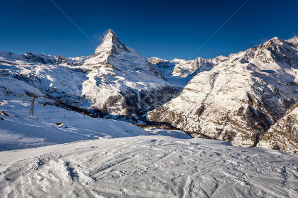 晴れた ピーク スイス 車 風景 ストックフォト © anshar