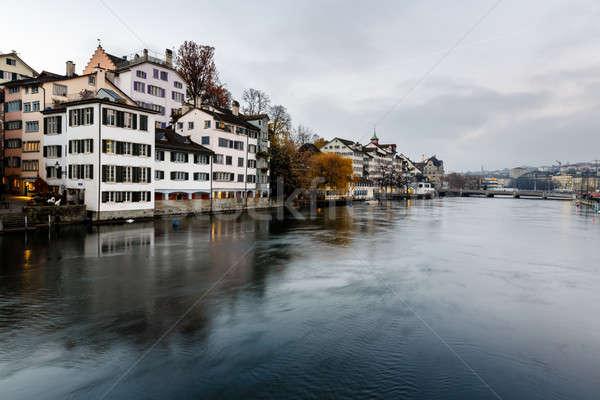 Zürih ufuk çizgisi nehir akşam İsviçre şehir Stok fotoğraf © anshar