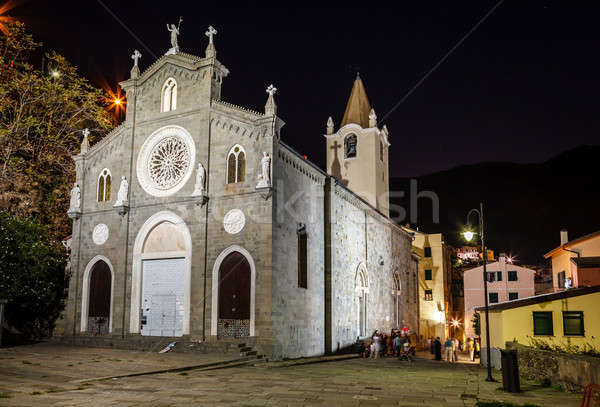 Illuminated Church in the Village of Riomaggiore at Night, Cinqu Stock photo © anshar