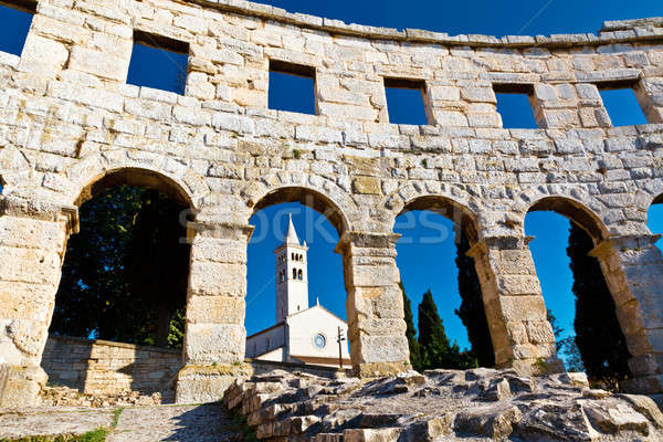 Ancient Roman Amphitheater and Church in Pula, Istria, Croatia Stock photo © anshar