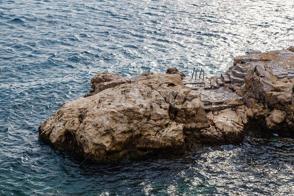 Rock and the Stairs Leading to the Sea in Rovinj, Croatia Stock photo © anshar