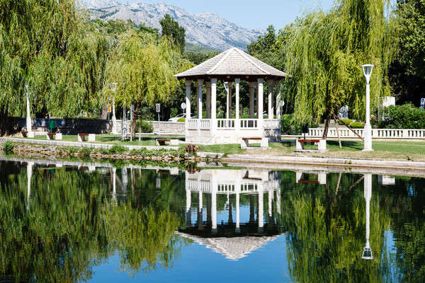 Picturesque Landscape, Pavilion, River and Willow, Solin, Croati Stock photo © anshar