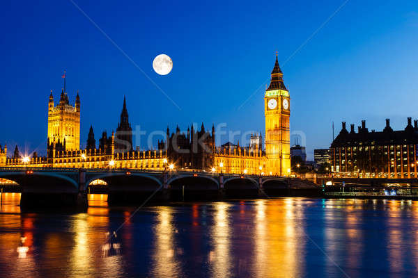 Pleine lune au-dessus Big Ben maison parlement Londres Photo stock © anshar