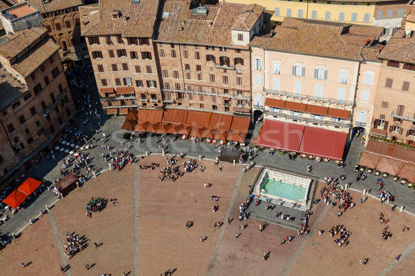 Aerial View on Piazza del Campo, Central Square of Siena, Tuscan Stock photo © anshar