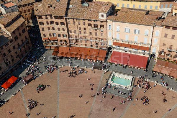 Légifelvétel központi tér toszkán Toszkána Olaszország Stock fotó © anshar