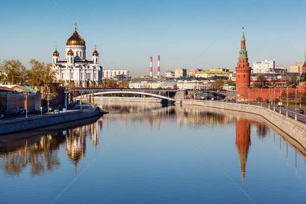 Stock photo: View on Kremlin and Cathedral of Jesus Christ Saviour, Moscow, R