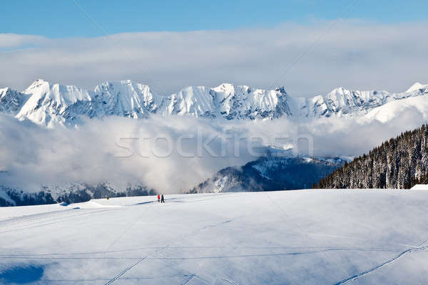 Panoramic View on Mountains and Two People Trekking in French Al Stock photo © anshar