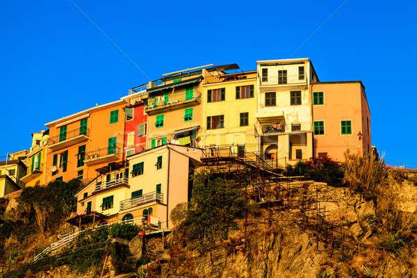 деревне крутой утес Италия небе воды Сток-фото © anshar