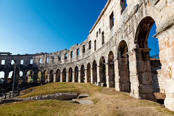 Eski Roma amfitiyatro Hırvatistan gökyüzü duvar Stok fotoğraf © anshar
