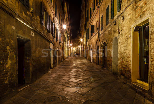 Stock photo: Narrow Alley With Old Buildings In Medieval Town of Siena, Tusca