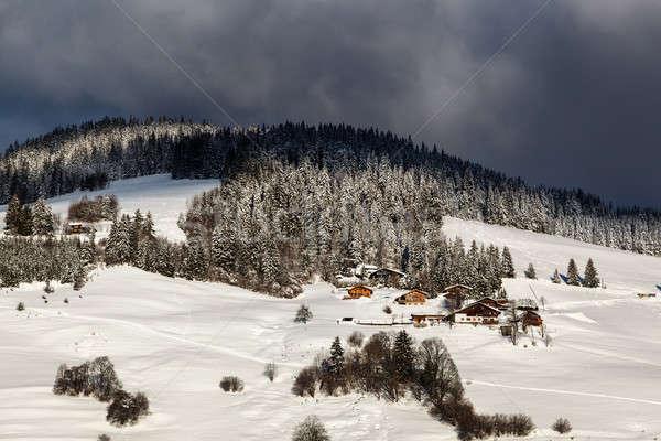 Dağ köy fransız alpler şehir Stok fotoğraf © anshar