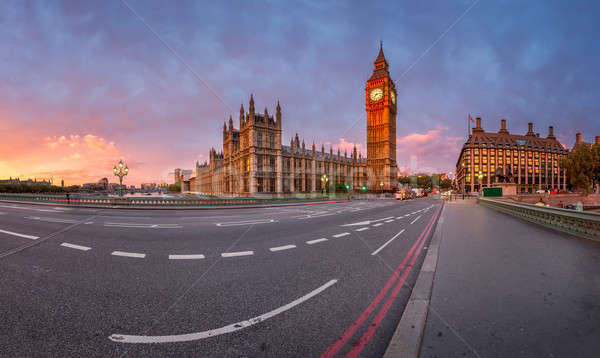Panorama reine horloge tour westminster palais Photo stock © anshar