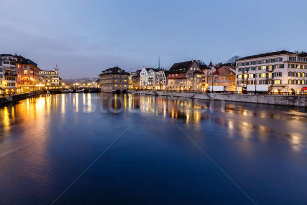 Illuminated Cityhall and Limmat River Bank in the Evening, Zuric Stock photo © anshar