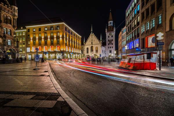 Cidade velha ouvir noite Munique céu rua Foto stock © anshar