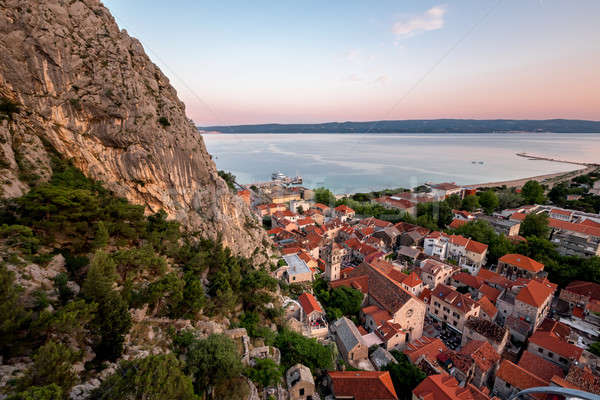 Aerial View on Omis Old Town and Holy Spirit Church, Dalmatia, C Stock photo © anshar