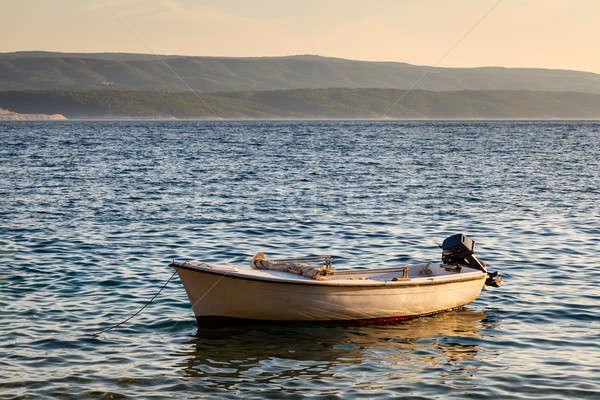 Lonely Boat and Island Brac at Sunset, Dalmatia, Croatia Stock photo © anshar